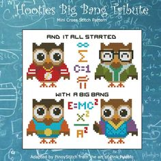 Hooties are smart and what better tribute than to dress up like their nerdy counterparts in a popular tv series? Stitch them individually or create your own sampler!