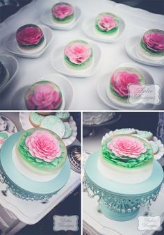 Amazing fancy jello! Romantic Teal + White Styled Shoot by Dolce Designs on Pretty My Party! #desserttable #mint #white #weddings #bridalshowers #styledshoot #shabbychic #flowers #fancyjello