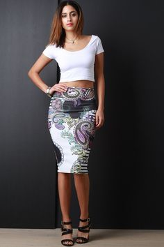 Paisley High Waist Midi Pencil Skirt – SheLuvsIt.com