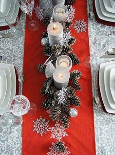 silver pinecones, snowflakes and candles