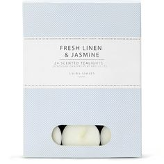 Laura Ashley Fresh Linen and Jasmine 24 Scented Tealights ($10) ❤ liked on Polyvore featuring home, home decor, candles & candleholders, fillers, blue fillers, candles, blue, laura ashley, scented tea candles and scented tealight candles