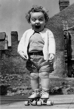 This baby on rollerskates. | The Happiest People On Earth
