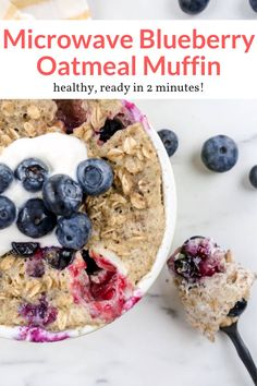 most amazing microwave muffin packed with rolled oats, flaxseeds, and blueberries naturally sweetened with banana! Ready in just 2 minutes. Vegetarian Recipes Easy, Ww Recipes, Gourmet Recipes, Healthy Recipes, Shake Recipes, Muffin Recipes, Baking Recipes, Blueberry Oatmeal Muffins, Blue Berry Muffins