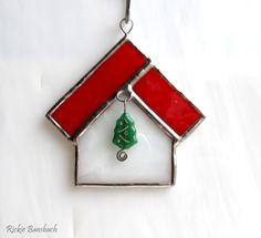 Little Christmas House ornament with Tree Bead stained glass 01. $10.50, via Etsy.