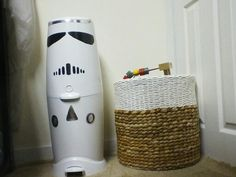 Diaper Genie with Duct Tape easy Storm Trooper Star Wars Room Decor, Star Wars Nursery, Diaper Genie, Star Wars Baby, Duct Tape, Baby Love, Crafty, Stars, Easy