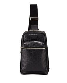 aeee1125d15e Gucci Mens GG Leather Crossbody Backpack Gucci Men, Gucci Bags, Gucci  Fashion, Black