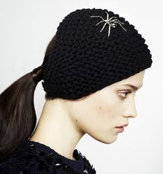 ac2033f372307 Jennifer Behr - Spider Knit A handknit kerchief with Swarovski crystal  spider embellishment. Finished with