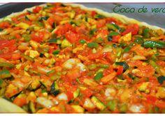 Coca de verduras. (Thermomix) Receta de PILAR- Cookpad Coco, Salsa, Mexican, Ethnic Recipes, Tasty Food Recipes, Cookies, Healthy Recipes, Entrees, Thermomix