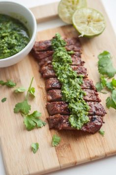 Married Claire: Mouthwatering Cilantro Lime Skirt Steak & Chimichurri Sauce [Chimichurri: handful parsley handful cilantro cup olive oil onion 2 limes juiced 1 clove garlic 1 tsp cumin 1 tsp coriander 1 tsp kosher salt] for tri-tip Paleo Recipes, Mexican Food Recipes, Cooking Recipes, Lime Recipes, Burger Recipes, Easy Recipes, Comida Diy, Eat This, Comida Latina