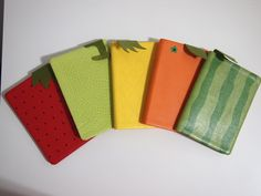 Fruity Notebook - Overview of the 5 designs available! See it on http://hilivre.tictail.com/product/fruity-notebook Dimensions: 15 cm(Height) X 11 cm(Width) #hilivre #fruit #notebook #strawberry #watermelon #honeydew #orange #pineapple