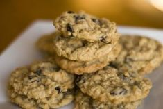 Healthy gluten free, sugar free banana oat cookies with chocolate chips.