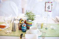 Table scape from multi colored wedding