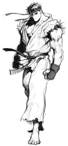 Concept art of Ryu for Super Street Fighter II Turbo