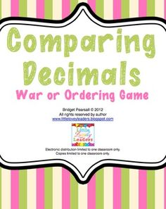Comparing and Ordering Decimals - 2 Games in 1 - Little Lovely Leaders Teaching Decimals, Comparing Decimals, Math Fractions, Fun Math, Math Games, Fun Games, Student Teaching, Teaching Tools, Teaching Ideas