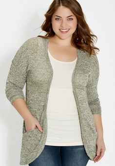 plus size cocoon cardigan with pockets and lace - #maurices