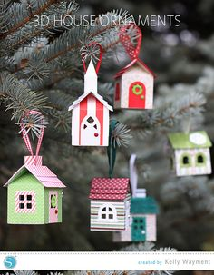 3D House Christmas Ornaments made with the Silhouette - by Kelly Wayment