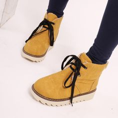 awesome Shoespie Candy Color Lace up Snow Boots