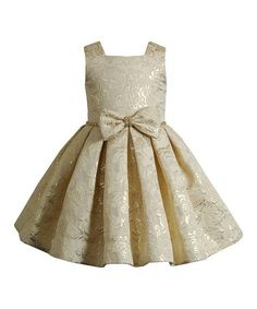 Gold Floral Bow A-Line Dress - Toddler & Girls