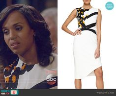 Olivia's black and white dress with orange applique on Scandal. Outfit Details: https://wornontv.net/56626/ #Scandal