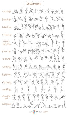 Louis Decrevel - gesturefest. This graphic is full of stick figures in various themed poses. Great for someone like me who can't work out where to put arms and legs on my figures.