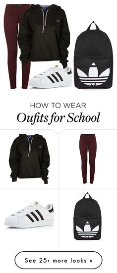 """Normal school day"" by fashionlover4562 on Polyvore featuring J Brand, adidas and Topshop"