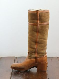 Vintage Shearling Lined Suede Tall Boots