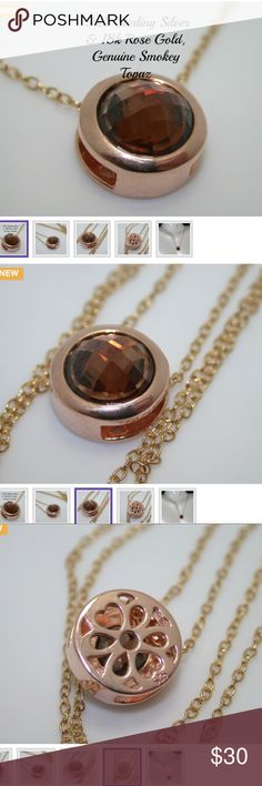 """Solid .925 SS Designer Samuelle And Co. Necklace Material: Sterling silver Color: Brown Condition: New Size: Short (16""""-20"""")  This beautiful necklace is crafted in Solid 925 Sterling Silver & 18k Rose Gold Overlay. The necklace contains 4.50ctw Genuine Smokey Topaz. The weight of this necklace is 3.2 grams. The pendant measures 6mm in diameter. The chain is 18 inches long. Samuelle & Co Jewelry Necklaces"""