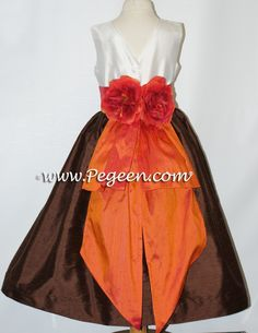 Chocolate brown and mango orange flower girl dresses atyle 383 by Pegeen