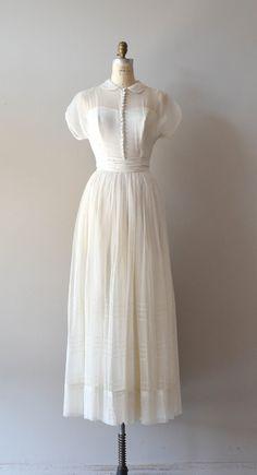 1940s chiffon wedding dress with Peter Pan collar and tiny fabric buttons