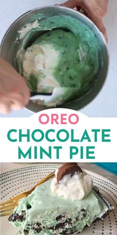 Easy no bake OREO chocolate mint pie with a crunchy cookie crust topped with whipped cream and chocolate covered OREO cookies. A delicious chilled dessert recipe for St. Patricks day a summer party or any time of the year! Summer Dessert Recipes, Easy No Bake Desserts, Frozen Desserts, Easy Desserts, Delicious Desserts, Chocolate Mint Pie Recipe, Mint Chocolate, Chocolate Covered, Mint Cookies