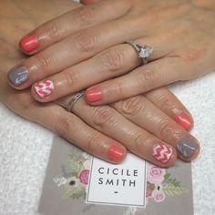 Gel Polish Manicure #coral #gray #arrow #chevronnails #nailart #nailsbycicilesmith by cicilesmith
