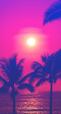 Neon / Hot pink blue sunset palms iphone wallpaper phone background lockscreen