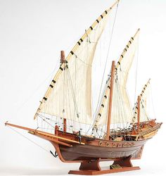 """Pirate ships have been known throughout history for their speed, but the """"Xebec Pirate Ship"""" in particular has...(continued) http://www.themodelship.com/xebec_model_pirate_ship.html $327"""