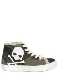HYDROGEN - CANVAS SKULL PRINTED HIGH TOP SNEAKERS - LUISAVIAROMA - LUXURY SHOPPING WORLDWIDE SHIPPING - FLORENCE