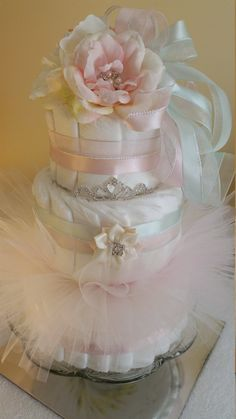 Baby Shower Shabby Chic Centerpiece Tutu Diaper Cake  Blush Pink and Mint…