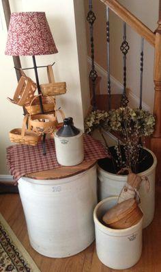Love old crocks. And baskets. Prim Decor, Country Decor, Primitive Decor, Country Primitive, Farmhouse Decor, Primitive Furniture, Country Crafts, Antique Crocks, Old Crocks