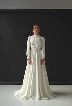 Long sleeve wedding dress Modest boho wedding dress Minimalist bridal gown Modern wedding dress for winter Crepe ivory wedding gown VESTA - Etsy Wedding Dress - Fall Outfit Wedding Dress Chiffon, Wedding Dress Black, Long Sleeve Wedding Dress Boho, Boho Wedding Dress Bohemian, Minimalist Wedding Dresses, Ivory Wedding, Elegant Wedding, Boho Gown, Long Sleeve Chiffon Dress