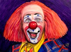 """Giclee Print - Watercolor Clown #6 Ron """"Toto"""" Johnson    Paper: Fine Art Paper    Giclee Print Size: 9 X 12 , 11 X 14, or 16 X 20inches    Frame: Unframed    Signed on back and on comes with signed Certificate of Authenticity    The paper upon which the ink was applied is fine art paper : acid free, lignin chlorine free, smudge resistant. Avoid touching the surface of the print. Required framing under glass.    The print was matched to the original artwork in a collaborative effort between…"""