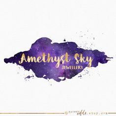 Amethyst Watercolor Logo Design , Purple Watercolour , Purple Galaxy , Watercolour Galaxy , Night Sky , Universe Logo , Starry Sky