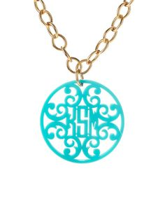 Loving this! An old fashioned monogram gets moved into the modern age featuring clean lines and bold, bright acrylic colors. Customizable chain length, color and initials for $78