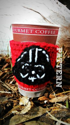 Darth Vader cup cozy crochet pattern for sale on Etsy & Ravelry by Sheila Hunt Coffee Cozy Pattern, Crochet Coffee Cozy, Coffee Cup Cozy, Crochet Cozy, Mug Cozy, Crochet Crafts, Crochet Projects, Star Wars Crochet, Nerd Crafts