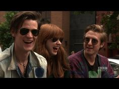Doctor Who cast in a pedicab