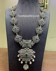Multipurpose 4 in 1 diamond haram , vaddanam, jada, pendant photo Long Pearl Necklaces, Gold Necklace, Emerald Necklace, Necklace Set, Gold Jewellery Design, Bridal Jewellery, Cz Jewellery, Temple Jewellery, Wedding Jewelry