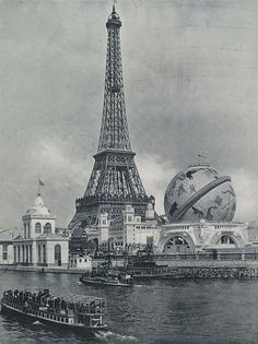 Le Tour Eiffel and Le Globe Céleste, Exposition Universelle, Paris c. 1900 via Wikimedia Commons
