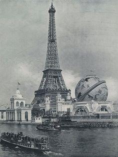 lostsplendor:  Le Tour Eiffel and Le Globe Céleste, Exposition Universelle, Paris c. 1900 via Wikimedia Commons