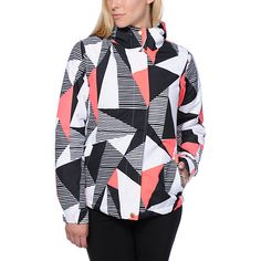 Keep your bases covered this season in the Aperture Girl Pow Pow Geo 10K snowboard jacket.