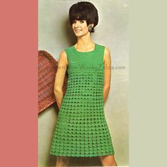Crochet vestido patrón 177 Vintage PDF simplemente Dishy de WonkyZebra