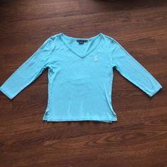 {Ralph Lauren Sport} 3/4 Sleeve V-Neck Tee Beautiful color blue, few signs of wear, good condition. Ralph Lauren Tops Tees - Short Sleeve