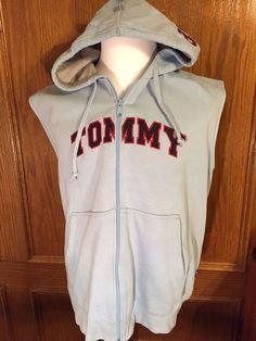 TOMMY HILFIGER LARGE USA JEANS SPELLOUT HOODED SWEATSHIRT SPORT HIP HOP HOODIE #TommyHilfiger #Hoodie