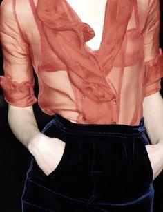 ruffled sheer blouse.